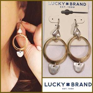 NWT Lucky Brand Gold/Silver Geo Drop Earrings